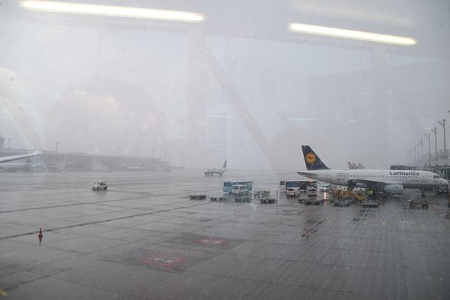 München空港。着いた途端に大雪が
